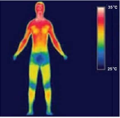 Human body's sensitivity to radiant heat