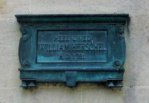 Plaque to Sir William Herschel on his house in Bath