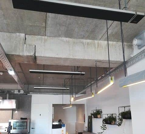 Summit heaters warming a cafe