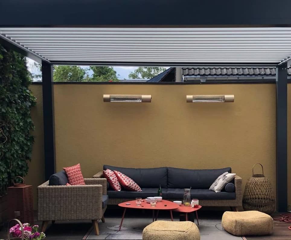 Herschel infrared california patio heaters in rose gold