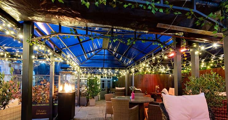 Herschel Manhattan warming an outdoor gin terrace