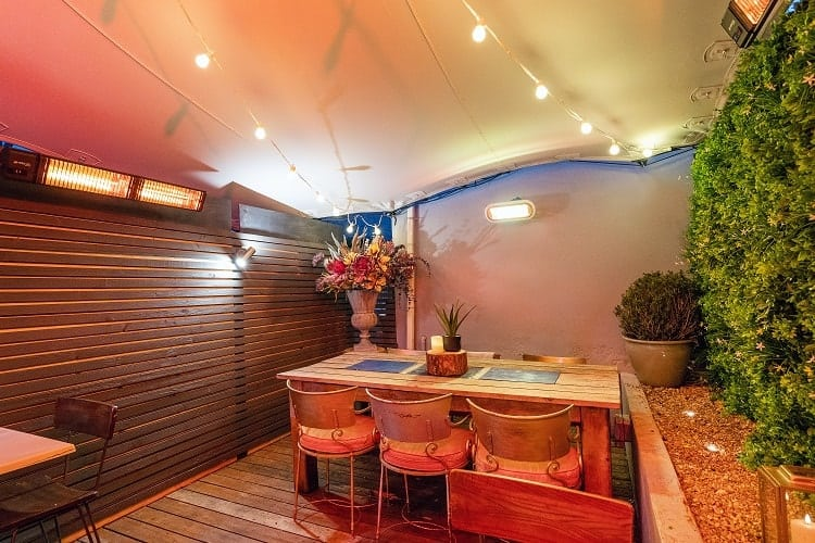 Secret Garden Bar heated by Herschel