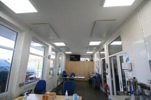 Herschel infrared panels heating mens shed social area